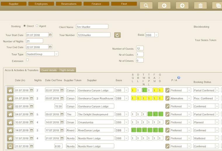 Screenshot bookings